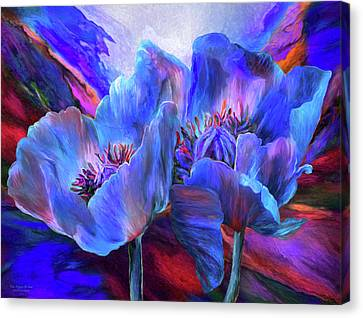 Canvas Print featuring the mixed media Blue Poppies On Red by Carol Cavalaris