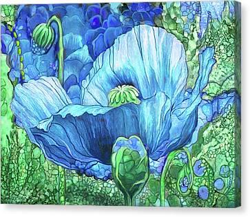 Canvas Print featuring the mixed media Blue Poppy Garden by Carol Cavalaris