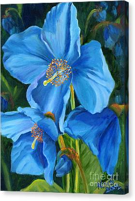 Canvas Print featuring the painting Blue Poppy by Renate Nadi Wesley