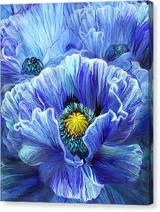 Canvas Print featuring the mixed media Blue Poppy Splash by Carol Cavalaris