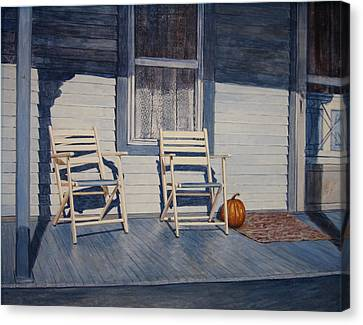 Blue Porch With Chairs Canvas Print by John Entrekin