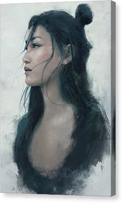 Geisha Girl Canvas Print - Blue Portrait by Eve Ventrue