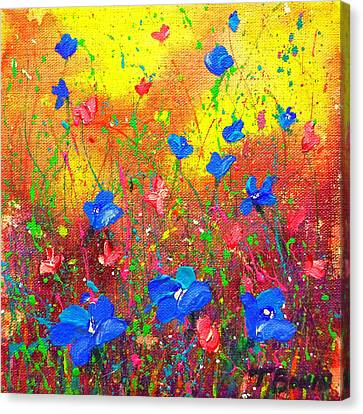 Blue Posies Canvas Print
