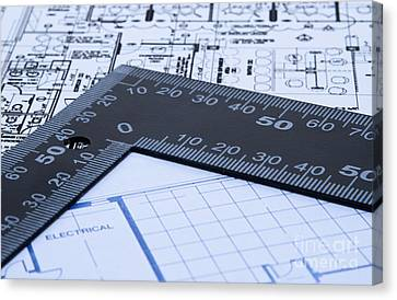 Blue Prints And Ruler Canvas Print