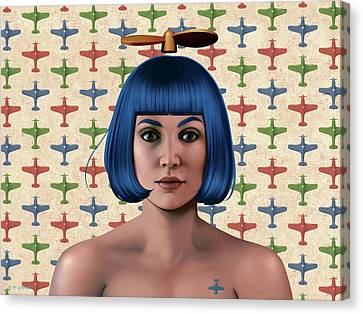 Blue Propeller Gal Canvas Print by Udo Linke
