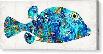 Fish Underwater Canvas Print - Blue Puffer Fish Art By Sharon Cummings by Sharon Cummings