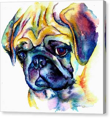 Pet Canvas Print - Blue Pug by Christy  Freeman