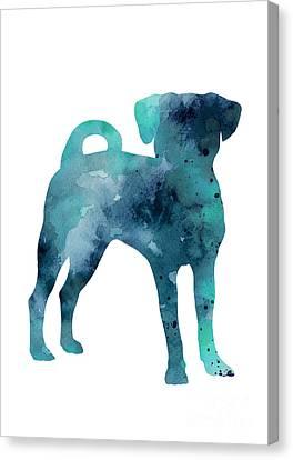 Blue Puggle Minimalist Painting Canvas Print by Joanna Szmerdt
