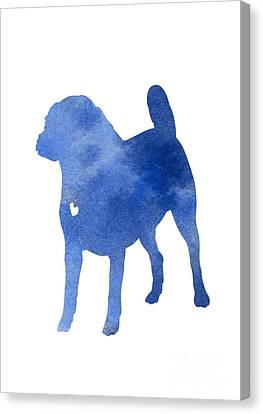 Blue Puggle Watercolor Painting Canvas Print by Joanna Szmerdt