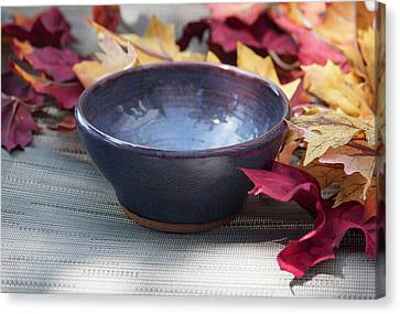 Hand Thrown Pottery Canvas Print - Blue Purple Bowl  by Suzanne Gaff