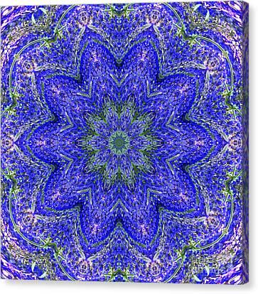 Blue Purple Lavender Floral Kaleidoscope Wall Art Print Canvas Print by Carol F Austin