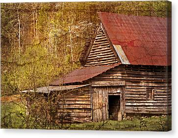 Blue Ridge Mountain Barn Canvas Print by Debra and Dave Vanderlaan