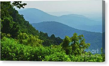 Blue Ridge Mountain Layers Canvas Print by Kerri Farley
