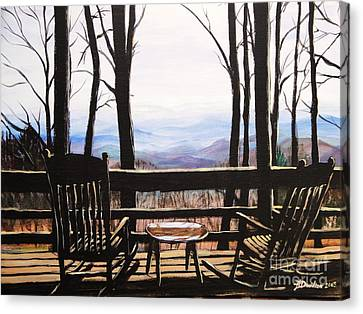Canvas Print featuring the painting Blue Ridge Mountain Porch View by Patricia L Davidson