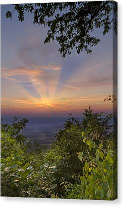 Benton Canvas Print - Blue Ridge Mountain Sunset by Debra and Dave Vanderlaan