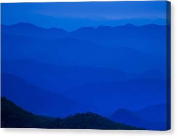 Twilight Views Canvas Print - Blue Ridge Mountains by Andrew Soundarajan