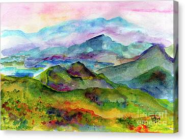 Blue Ridge Mountains Georgia Landscape  Watercolor  Canvas Print
