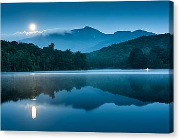 Blue Hour Canvas Print - Blue Ridge North Carolina Full Moon Mountain Reflections by Mark VanDyke
