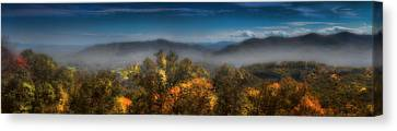 Canvas Print featuring the photograph Blue Ridge Panorama by Ellen Heaverlo