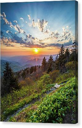 Blue Ridge Parkway Nc Follow The Sun Canvas Print by Robert Stephens