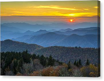 Blue Ridge Parkway Sunset - For The Love Of Autumn Canvas Print by Dave Allen