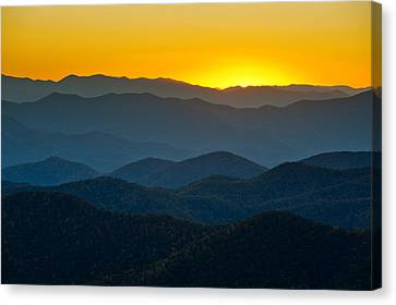 Blue Ridge Parkway Sunset Nc - Afterglow Canvas Print by Dave Allen