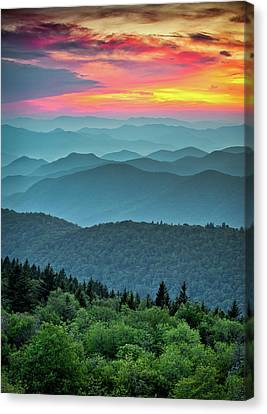 Mountain Valley Canvas Print - Blue Ridge Parkway Sunset - The Great Blue Yonder by Dave Allen