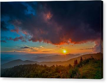 Canvas Print featuring the photograph Blue Ridge Sunset by Joye Ardyn Durham