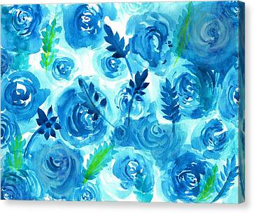 Blue Rose Flower In Watercolor Painting Canvas Print by My Art