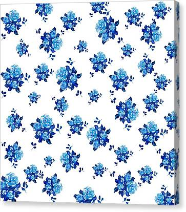 Rose Patterned Curtains Canvas Print - Blue Rose Pattern by Jan Matson