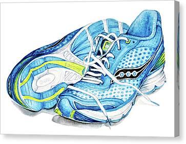 Blue Running Shoes Canvas Print by Heidi Kriel