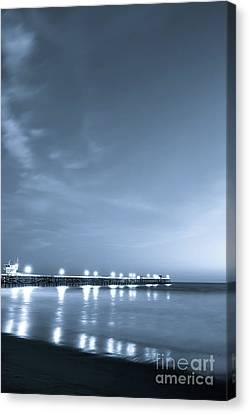 Clemente Canvas Print - Blue San Clemente Pier At Night Photo by Paul Velgos