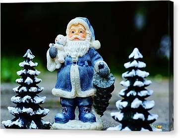 Canvas Print featuring the photograph Blue Santa Christmas Card by Bellesouth Studio