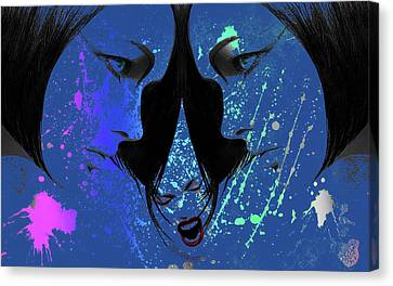Canvas Print featuring the digital art Blue Screamer by Greg Sharpe