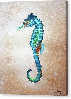 Blue Sea Horse Canvas Print by Jeff Lucas