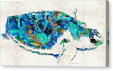 Blue Sea Turtle By Sharon Cummings  Canvas Print by Sharon Cummings