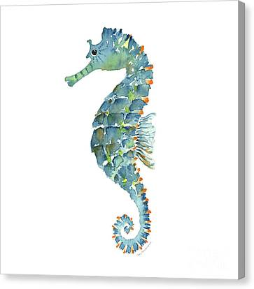 Blue Seahorse Canvas Print by Amy Kirkpatrick