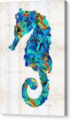 Blue Seahorse Art By Sharon Cummings Canvas Print by Sharon Cummings