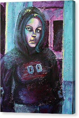 Blue Self Portrait Canvas Print by Sarah Crumpler