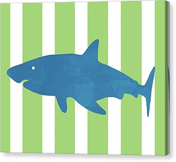 Kids Card Canvas Print - Blue Shark 1- Art By Linda Woods by Linda Woods