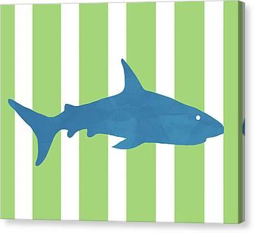Kids Card Canvas Print -  Blue Shark 2- Art By Linda Woods by Linda Woods