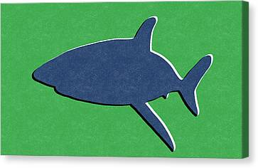 Kid Wall Art Canvas Print - Blue Shark by Linda Woods