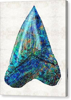 Fish Canvas Print - Blue Shark Tooth Art By Sharon Cummings by Sharon Cummings