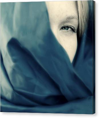 Blue Shawl #02953 Canvas Print by Andrey  Godyaykin