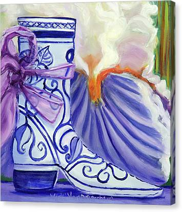 Blue Shoe, Painting Of A Painting Canvas Print