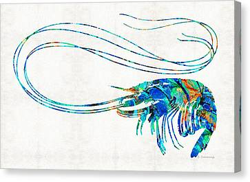 Blue Shrimp Art By Sharon Cummings Canvas Print by Sharon Cummings