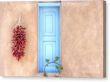 Blue Shutters And Chili Peppers Canvas Print