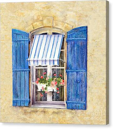 Canvas Print featuring the painting Blue Shutters by Bonnie Rinier