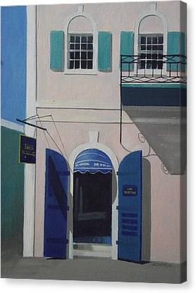 Blue Shutters In Charlotte Amalie Canvas Print by Robert Rohrich