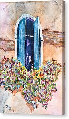 Blue Shutters Canvas Print by Jerry Kelley